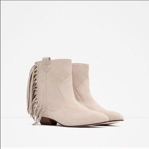 NWOT suede fringe Zara boots